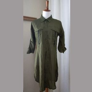 Tops - Women's NEW Green Button Up Utility Tunic Blouse